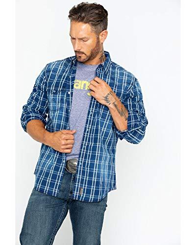 (Wrangler Men's Retro Long Sleeve Snap Plaid Indigo Plaid X-Large)