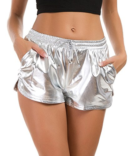 Tandisk Women's Yoga Hot Shorts Shiny Metallic Pants with Elastic Drawstring