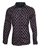 stage clothes - Rock Roll-n-Soul Men's Day Of The Dead Over-Dyed Star Print Fashion Shirt 366OD (L)