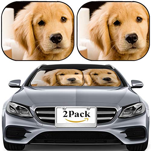 MSD Car Sun Shade for Windshield Universal Fit 2 Pack Sunshade, Block Sun Glare, UV and Heat, Protect Car Interior, Soft Fluffy Golden Retriever Puppy Dog House Trained with Toilet Paper Image