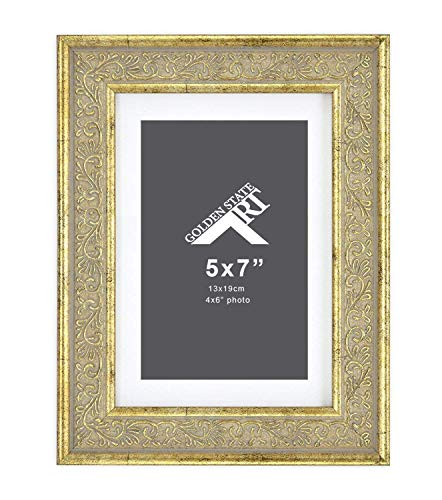 Light Gold Ornate Frames - Golden State Art, 5x7 Frame for 4x6 Photo with White Mat, Table-Top Easel Stand, Real Glass (Light Gold Pewter with Ornate Panel - Vertical + Horizontal)