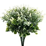 HUAESIN Outdoor Artificial Flowers UV Resistant Plastic Flowers Jasmine Plants Greenery Shrubs Bushes for Indoor Garden Pot Vase Wedding Flower Arrangements 4PCS