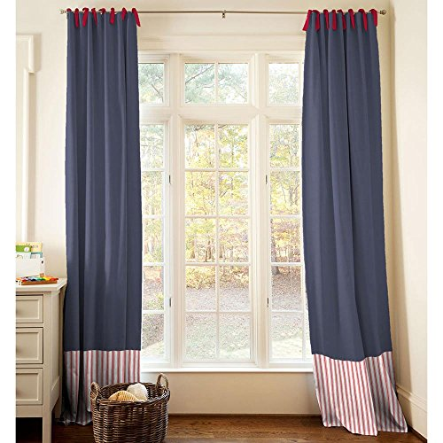 Carousel Designs Red and Navy Baseball Drape Panel 84-Inch Length Standard Lining 42-Inch Width by Carousel Designs