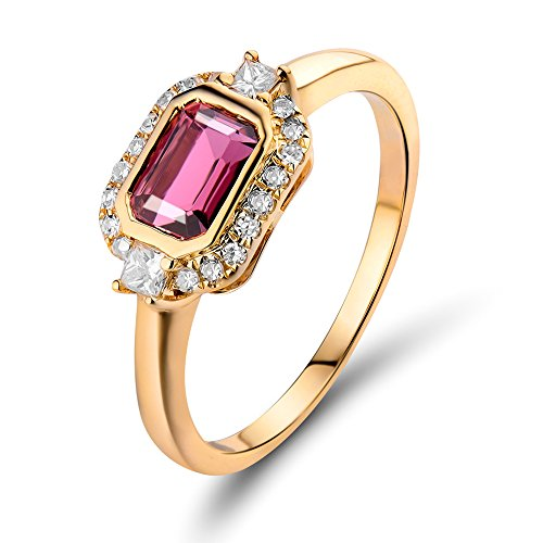 Lanmi Emerald Cut 4x6mm 14Kt Yellow Gold Diamonds Pink Tourmaline Engagement Ring