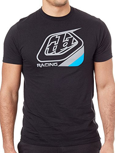Troy Lee Designs Mens TLD Racing Precision Logo Short-Sleeve T-Shirt (Black/Blue, Small)