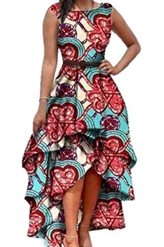 Crewneck Hem Women Tunic Red Coolred Maxi Sleeveless Long Line Fashion Unique Dress wR6aWHOq