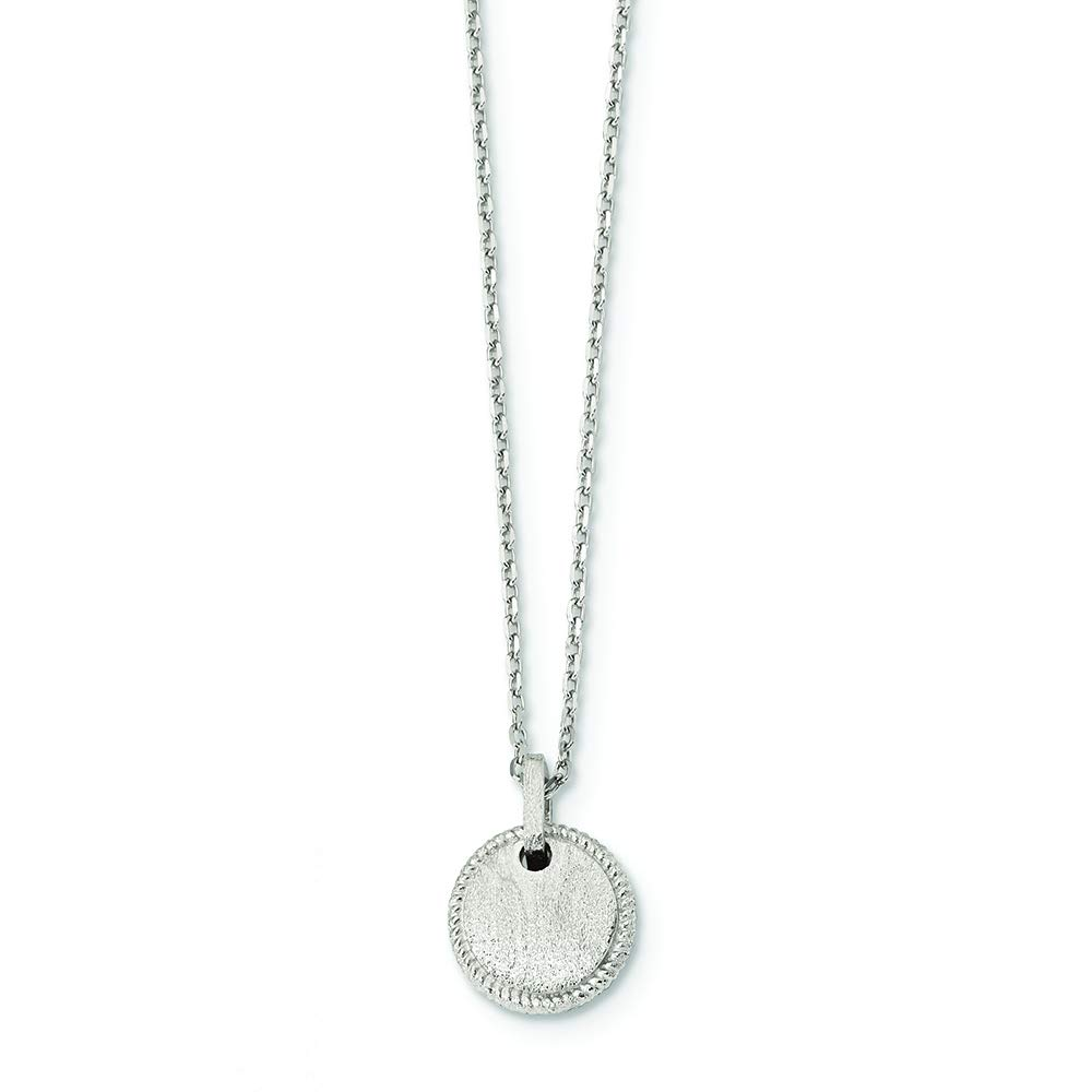 Sterling Silver Matte Puffed Circle Necklace with 2 Extension