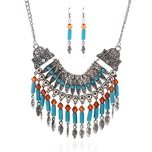 Women Fashion Bohemian National Style Necklace Fringed Necklace Earrings Set Jewelry for Wedding Or Party-Women Necklace and Earring Set to Wear Wedding (Silver)