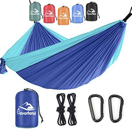 Favorland Camping Hammock Double & Single with Tree Straps for Hiking, Backpacking, Travel, Beach, Yard – 2 Persons Outdoor Indoor Lightweight & Portable with Straps & Steel Carabiners Nylon