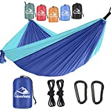 Favorland Camping Hammock Double & Single with Tree Straps for Hiking, Backpacking, Travel, Beach, Yard - 2 Persons Outdoor Indoor Lightweight & Portable with Straps & Steel Carabiners Nylon