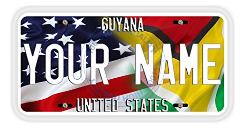 BleuReign(TM) Personalized Mixed USA and Guyana Flag Car Vehicle License Plate Auto Tag