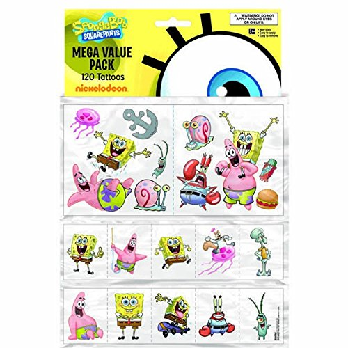 (Amscan SpongeBob Squarepants Temporary Tattoo Favor Value Pack, 12-1/2 x 8-3/8