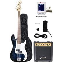 Crescent Electric Bass Guitar Starter Kit - Transparent Blue Color (Includes Amp & CrescentTM Digital E-Tuner)