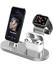 OLEBR Charging Stand Compatible with AirPods, iWatch Series 6/SE/5/4/3/2/1,Phone 12/12 Pro/ 12 Pro Max/11/11 Pro/11 Pro Max/Xs/X Max/XR/X/8/8Plus/7/7 P /6S /6S P(Original Cable Required)