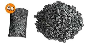 4bolsas de 25kg graniglia de mármol negro ébano 8/12mm Decoración Jardín