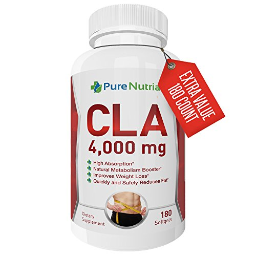 (PureNutria CLA 4000 - Max Strength Fat Burner for Men and Women, Natural Weight Loss Exercise Enhancement, Build Lean Muscle, Burn Fat - High Potency Conjugated Linoleic Acid Softgels - Stimulant Free)