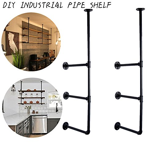 GoYonder Wall Mounted Iron Pipe Shelf, Industrial Rustic Hung Bracket Diy Storage Shelving Bookshelf (Bronze Finish, (Ladder Wall Brackets)