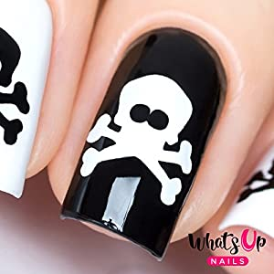 Whats Up Nails - Skull Nail Stencils Stickers Vinyls for Nail Art Design (1 Sheet, 20 Stickers & Stencils)