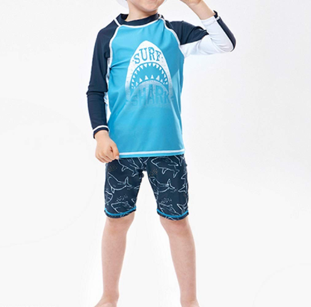 Pullic Kids Children Long Sleeve Split Swimsuits Kids Sunscreen Letter Printing Wetsuit for Water Sports(Blue) by Pullic (Image #1)