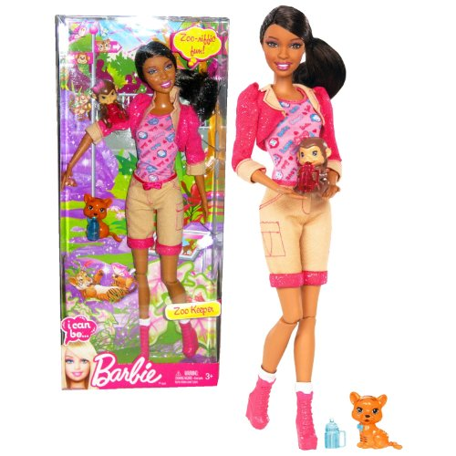 """Mattel Year 2012 Barbie """"I Can Be"""" Series 12 Inch Doll Set - Zoo Keeper NIKKI (X9080) with Pink Tops, Long Sleeve Cropped Jacket, Brown Denim Pants and Boots Plus Baby Monkey and Tiger Cub Figure"""