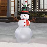 HUGE 9.5 Feet Gemmy Colossal inflatable lighted snowman with pop-up baby snowman