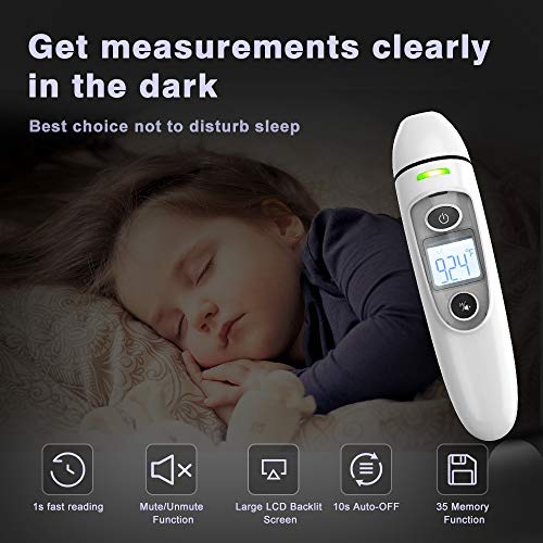 51Rz4hzlE8L - EHH Thermometer For Adults Forehead, Non-Contact Digital Infrared Thermometer For Adults, Kids And Babies With LCD Screen, Fever Alarm And Memory Function, Indoor And Outdoor Use, Including Batteries