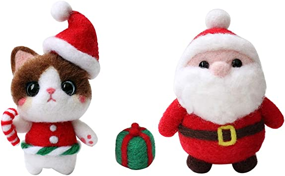 Needle Felting Christmas Decorations Santa Clause DIY kit All Materials Included Arts and Crafts for Teens and Adults Step by Step Video Instructions Natural Carded Merino Wool