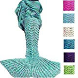 sleeping bag - DDMY Mermaid Tail Blanket For Kids Teens Adult Handmade Wave Mermaid Blankets Crochet Knitting Blanket Seasons Warm Soft Living Room Sleeping Bag Best Birthday Christmas gift 74''x35'' Mint Green