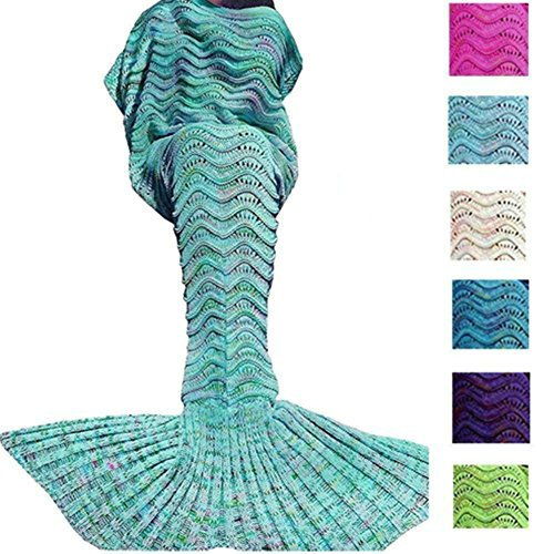 DDMY Mermaid Tail Blanket For Kids Teens Adult Handmade Wave Mermaid Blankets Crochet Knitting Blanket Seasons Warm Soft Living Room Sleeping Bag Best…