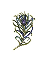 Feelontop® Women Ethnic Bronze Green Blue Rhinestone Peacock Feather Shape Brooches with Jewelry Pouch
