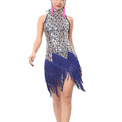 Pilot-trade Women's Evening Cocktail Party Club Latin Dance Fringes Necklace Dress Navy Blue