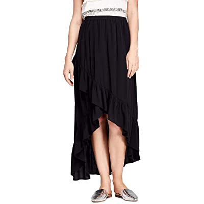 A New Day Women's Midi Wrap Skirt (Black, Small) at Women's Clothing store