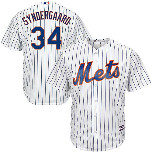 Genuine Stuff Noah Syndergaard New York Mets MLB Majestic Youth Boys 8-20 White Home Cool Base Replica Jersey (Size Large 14-16)
