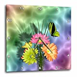 Edmond Hogge Jr Painted Daisys and Butterflies Wall Clock, 10 by 10-Inch