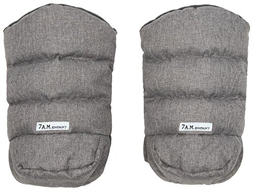 7AM Enfant WarMMuffs 212, Wind and Water-Resistant Stroller Gloves with Universal Fit, Best for Freezing Winter Conditions (Heather Grey, One Size, Set of 2) 7 A.M. Enfant HM212-HG/GR