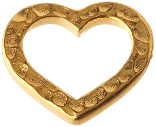 TierraCast Hammered Heart Charm, 14mm, Bright 22K Gold Plated Pewter, (14 Mm Hammered Heart)