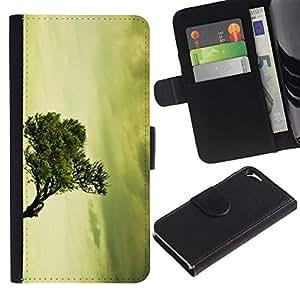 WINCASE Cuadro Funda Voltear Cuero Ranura Tarjetas TPU Carcasas Protectora Cover Case Para Apple Iphone 5 / 5S - viñeta naturaleza verde de la vendimia