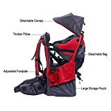 Baby toddler Hiking Backpack Carrier with Raincover Child Kid Sun canopy Shield, Red