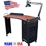 M600 DLX Manicure Nail Table Lockable w/CHERRY Laminated TOP Made in USA by Dina Meri