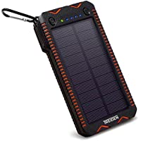 Solar Power Bank Charger 12000mAh, Built-in Flashlight and Coil Lighter, Dual USB, Portable External Backup Battery Pack for iPhone, Samsung, GoPro, Tablet, Android Cell Phone, GPS, Travel and Camping