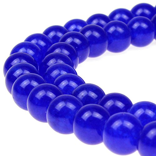 JARTC Natural Stone Beads Sapphire Jade Round Loose Beads For Jewelry Making Diy Bracelet Necklace (4mm) (Bead Necklace Sapphire)