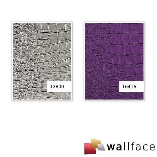 WallFace 13800 CROCO NOVA Wall panel leather 3D interior decoration luxury wallcovering self-adhesive Platin | 2,60 sqm by Wallface (Image #3)