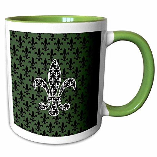 3dRose Russ Billington Patterns - Black and White Fleur de Lys over green and black Pattern - 15oz Two-Tone Green Mug (mug_220245_12)