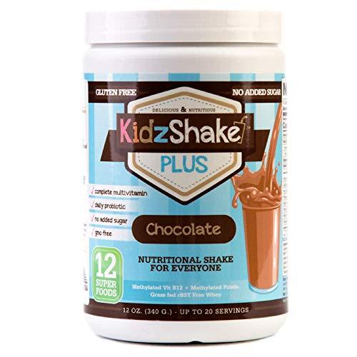 KidzShake - Kids Chocolate Plus Protein Powder | Nutritional Meal Replacement Shake - Non GMO, Gluten Free, Complete Multivitamin w/Probiotics, 12.13 oz