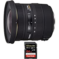 Sigma 10-20mm F3.5 EX DC HSM A-Mount Lens for Sony (202205) with Sandisk Extreme PRO SDXC 64GB UHS-1 Memory Card