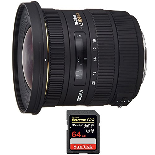 Sigma 10-20mm F3.5 EX DC HSM A-Mount Lens for Sony (202205) with Sandisk Extreme PRO SDXC 64GB UHS-1 Memory Card by Sigma