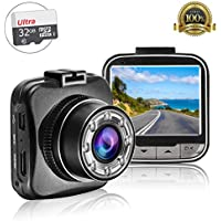 Full HD 1080P Dash Cam, 2.0 Inch 170 Degree Angle View HD Dash Cam Dashboard Camcorder Vehicle Camera with G-Sensor, Night Vision, WDR, Motion Detection, with 32GB TF Card