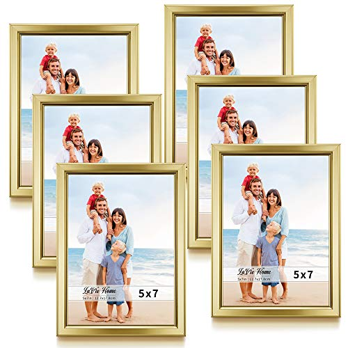 LaVie Home 5x7 Picture Frames (6 Pack, Gold) Simple Designed Photo Frame with High Definition Glass for Wall Mount & Table Top Display, Set of 6 Classic Collection (Gold Frame Professional)