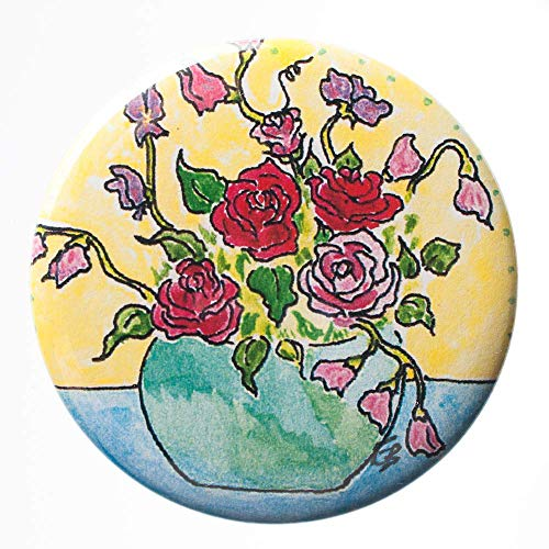 Roses and Sweet Pea Flat Art Pocket Mirror