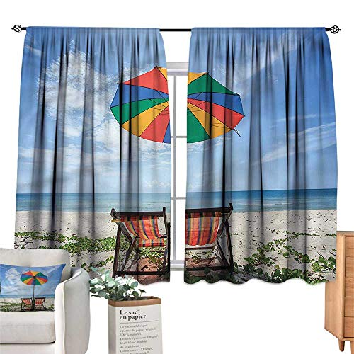 Mannwarehouse Curtains Seaside Colorful Umbrella Chairs W55 xL39 Suitable for Bedroom,Living,Room,Study,etc.